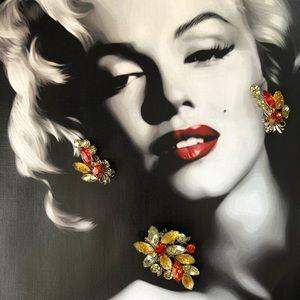 Vintage Beau Jewels Art Glass Brooch Earrings Set
